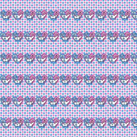 Kitty Hearts: Heart Stripes #1 fabric by tallulahdahling on Spoonflower - custom fabric