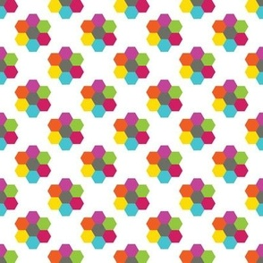CurlyPops - Hexy Flowers in White