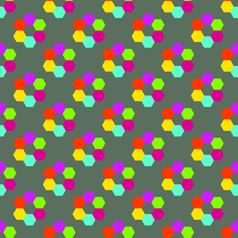 CurlyPops - Hexy Flowers in Grey fabric by curlypops on Spoonflower - custom fabric
