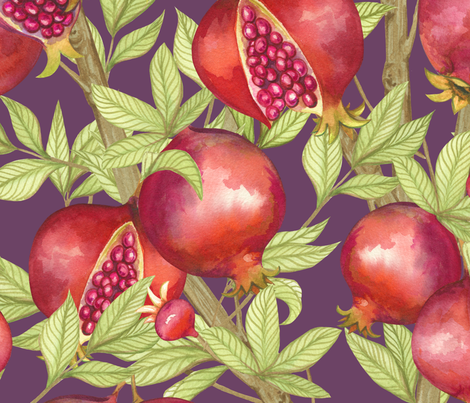 Pomegranate Orchard fabric by nicoletamarin on Spoonflower - custom fabric