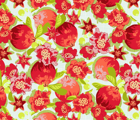 Pomegranates and flowers  fabric by cjldesigns on Spoonflower - custom fabric