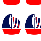 Red White Blue Sail Boat
