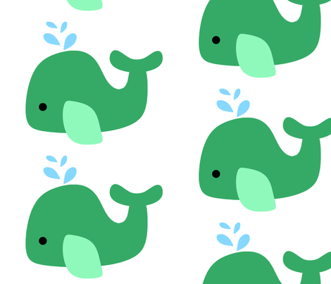 Green Whale fabric by little_treasures on Spoonflower - custom fabric