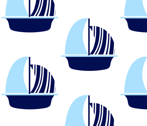 Light Blue Navy Sail Boat fabric by little_treasures on Spoonflower - custom fabric