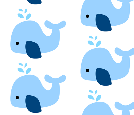 Light Blue Whale fabric by little_treasures on Spoonflower - custom fabric