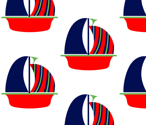 Navy Green Red Sail Boat fabric by little_treasures on Spoonflower - custom fabric
