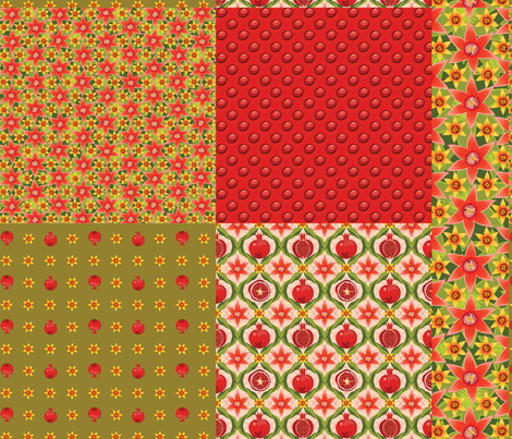 Pomegranate cushion collection 2 fabric by bippidiiboppidii on Spoonflower - custom fabric