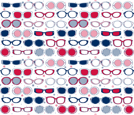 Stars, Stripes & Sunglasses - © Lucinda Wei fabric by lucindawei on Spoonflower - custom fabric