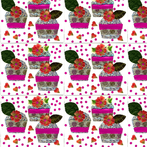 Three_cupcakes-ed fabric by pink_finch on Spoonflower - custom fabric