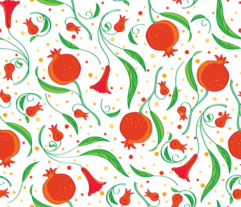 Pomegranate Blooms & Fruit - © Lucinda Wei fabric by lucindawei on Spoonflower - custom fabric