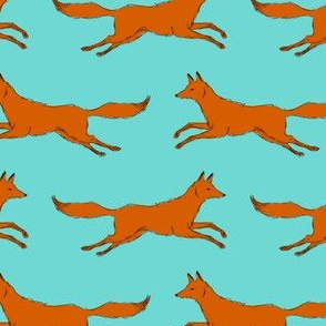 foxes running in blue