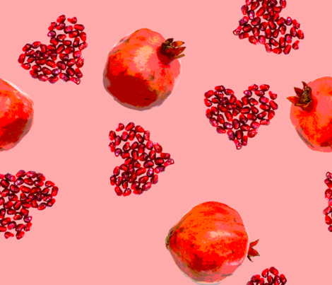 Pomegranates_pnk fabric by mysticalarts on Spoonflower - custom fabric