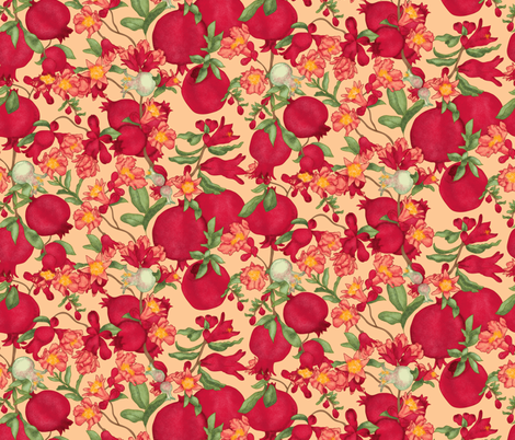 Pomegranate Creamsicle fabric by beebumble on Spoonflower - custom fabric