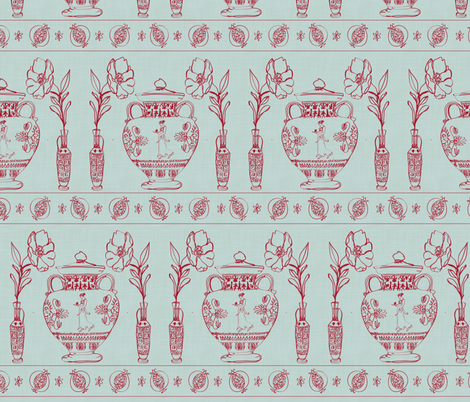 Persephone & The Pomegranate. A story told through Greek Vase fabric by alysnpunderland on Spoonflower - custom fabric