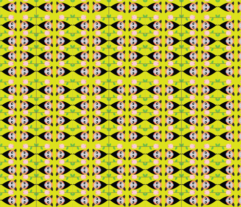 hanging around yellow fabric by karmacranes on Spoonflower - custom fabric