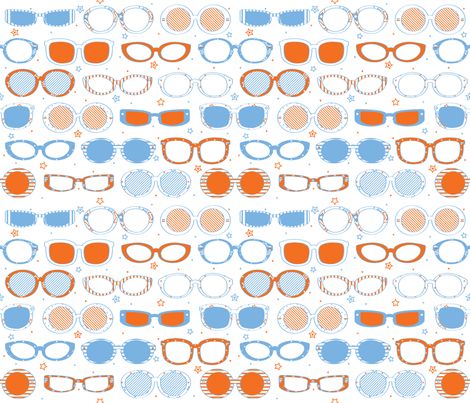 Stars, Stripes & Sunglasses Orange/Blue - © Lucinda Wei fabric by lucindawei on Spoonflower - custom fabric