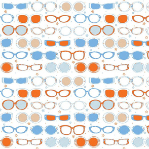 Stars, Stripes & Sunglasses Orange/Blue - © Lucinda Wei