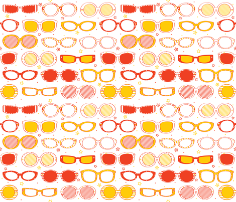 Stars, Stripes & Sunglasses Orange/Yellow - © Lucinda Wei fabric by lucindawei on Spoonflower - custom fabric