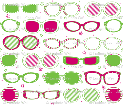 Stars, Stripes & Sunglasses Pink/Lime - © Lucinda Wei