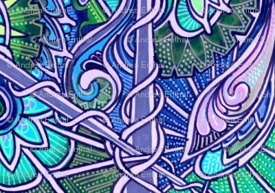 Ye Olde Lavender/Aqua/Green Vertical Stripe