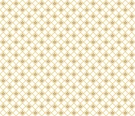 Fleur de Lys White and Saffron fabric by lulabelle on Spoonflower - custom fabric