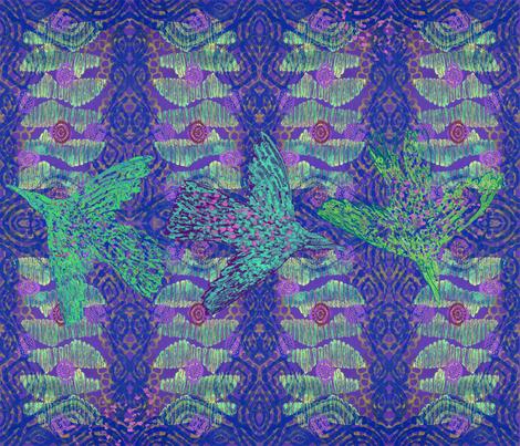 Green_Bird_Swirling fabric by rubyrice on Spoonflower - custom fabric