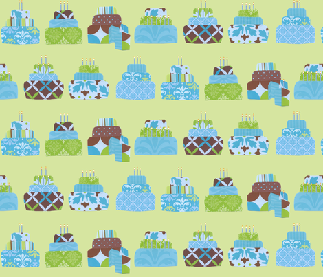Cake_on_grn_wcandles fabric by mysticalarts on Spoonflower - custom fabric