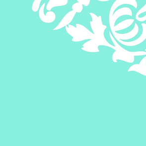 Damask White on Aqua Linen