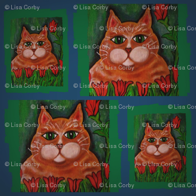 Marmalade Cat and Tulip Fabric