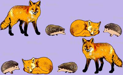 Hedgehog and Fox light purple