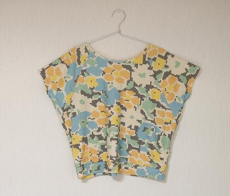 stitched flowers - blue orange yellow
