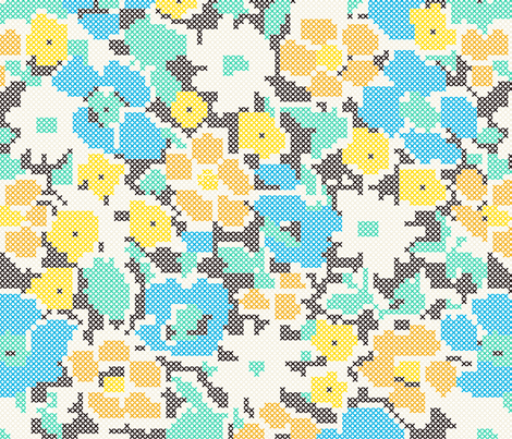 stitched flowers - blue orange yellow fabric by gingerme on Spoonflower - custom fabric