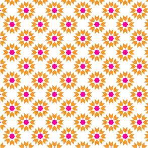 Tile Flowers Pink Orange