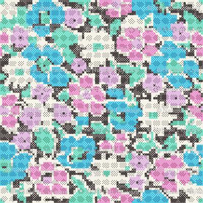 stitched flowers - blue purple pink