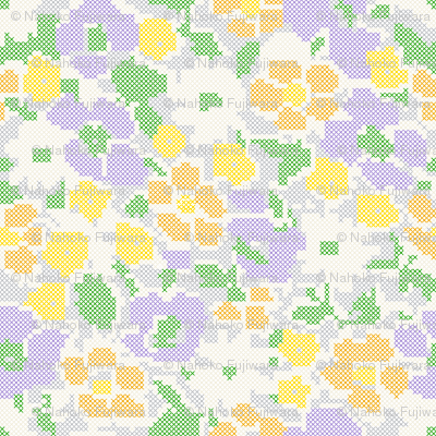 stitched flowers - purple orange yellow