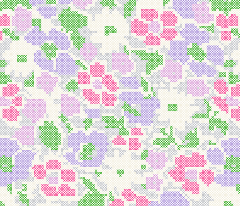 stitched flowers - violet purple pink fabric by gingerme on Spoonflower - custom fabric