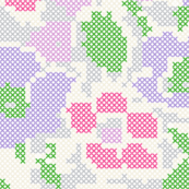 stitched flowers - violet purple pink