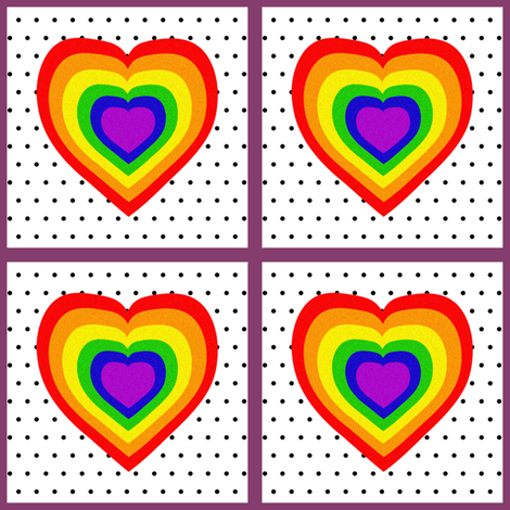 Rainbow Heart Patch fabric by glanoramay on Spoonflower - custom fabric
