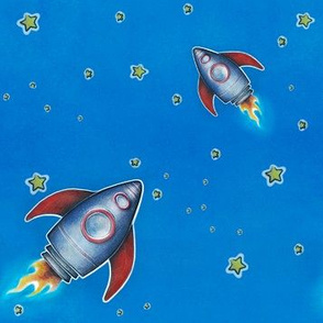 Reach for the Stars - Rocketship with blue background