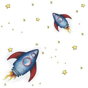 Reach for the Stars - Rocketship with white background