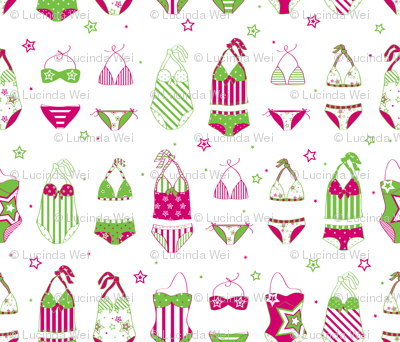 Stars, Stripes & Swimming Pink/Lime - © Lucinda Wei