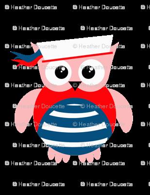 Patriotic Nautical Sailor Owl