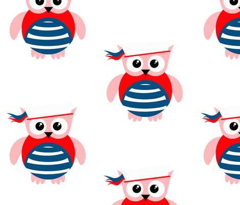 Patriotic Nautical Sailor Owl fabric by little_treasures on Spoonflower - custom fabric