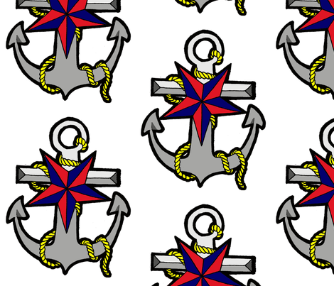 Nautical Star and Anchor fabric by little_treasures on Spoonflower - custom fabric