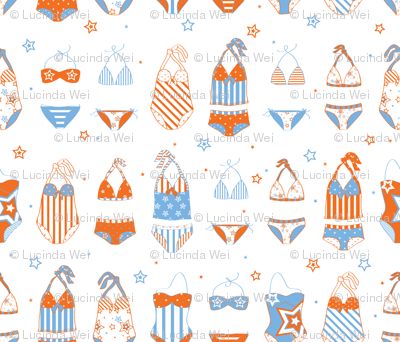 Stars, Stripes & Swimming Blue/Orange - © Lucinda Wei