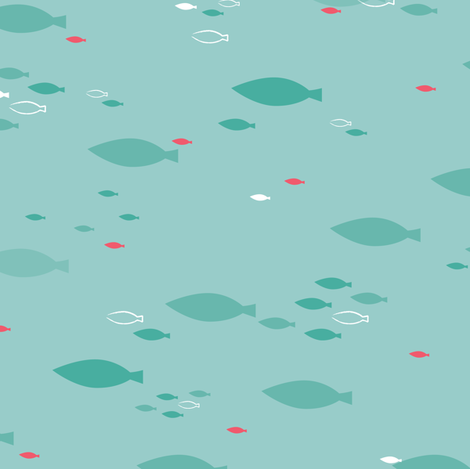 School of Fish Teal - © Lucinda Wei fabric by lucindawei on Spoonflower - custom fabric