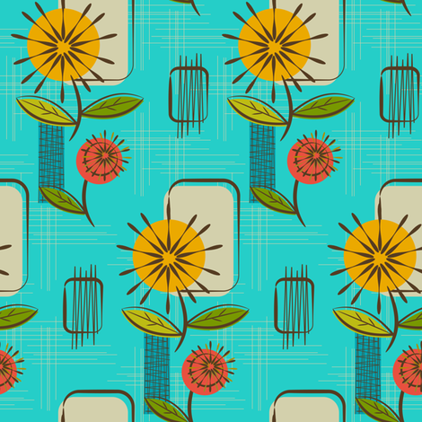 Mid Century Modern Dandelions ~ (Turquoise) fabric by retrorudolphs on Spoonflower - custom fabric