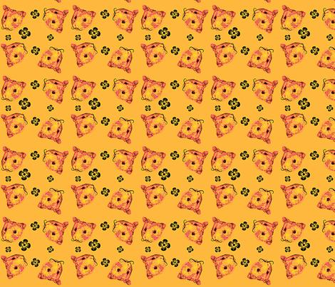 Mustachioed Hamster Tangerine fabric by margaretdaniero on Spoonflower - custom fabric