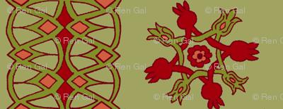 10th Century Persian Pomegranate Motifs - vertical