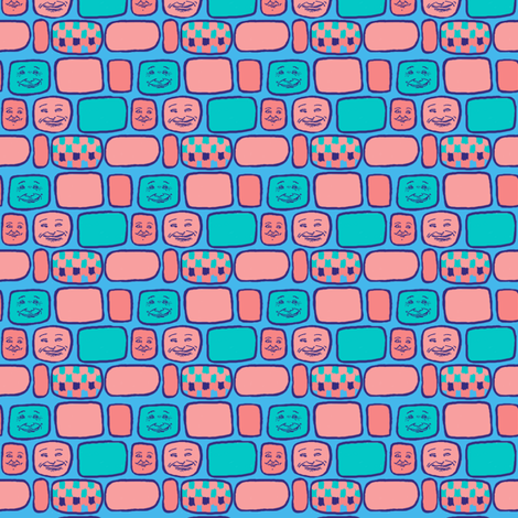 Happy Faces#7: Round Squares fabric by tallulahdahling on Spoonflower - custom fabric